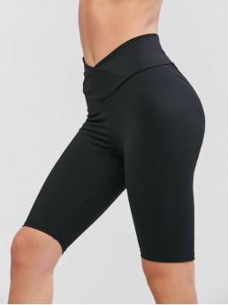 Fall and Spring Short Solid Elastic Mid Daily and Sports Fashion Solid Cross Front Scrunch Butt Biker Shorts