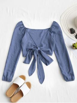 Summer Bowknot Solid Full Short Plunging Fashion Daily Plunging Neck Tied Bowknot Crop Blouse