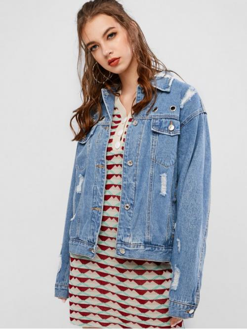 Autumn and Winter Pockets and Ripped Others Single Shirt Full Regular Wide-waisted Fashion Jackets Daily and Going Ripped Grommet Button Up Pocket Jeans Jacket
