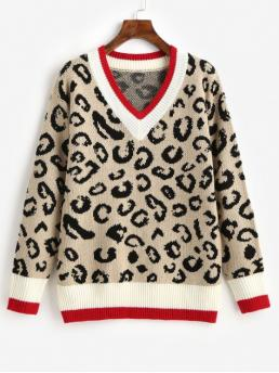 Autumn and Winter Leopard Elastic Full V-Collar Regular Regular Fashion Daily and Going Pullovers Leopard Contrast Hem Cricket V Neck Sweater