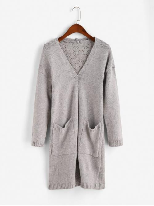 Autumn Pockets Others Elastic Full Drop Collarless Long Loose Casual Daily Cardigans Heathered Dual Pockets Open Knit Cardigan