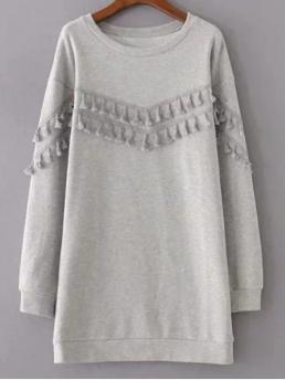 Fall and Spring No Others Long Round Mini Straight Casual Fringed Grey Sweatshirt Dress