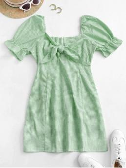 Green Peas Gingham Short Sleeves Cotton Front Dress Beautiful