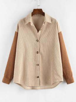 Full Sleeve Wide-waisted Cotton,polyester Colorblock Corduroy Two Tone Shirt Jacket Pretty