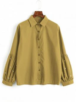 Autumn and Spring Pearls Solid Full Regular Shirt Fashion Casual Button Down Faux Pearls Shirt