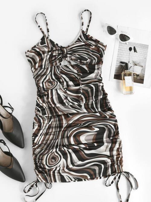 Deep Coffee Print Skinny Sleeveless Agate Cinched Ruched Cami Dress Beautiful