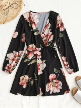 Spring and Summer No Floral Long V-Collar Wrap Mini Casual  and Going Long Sleeve Wrap Floral Mini Dress