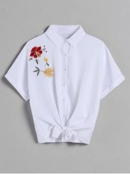 Summer Embroidery Floral 1/2 Batwing Regular Shirt Casual Daily Dolman Sleeve Embroidered Tie Shirt