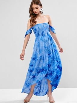 No Summer Tie Short Off Ankle-Length Asymmetrical Vacation Casual Off Shoulder Tie Dye Smocked Maxi Dress