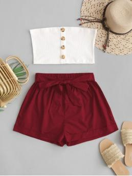 No Fall and Spring and Summer Button Patchwork Flat Elastic High Sleeveless Strapless Regular Fashion Beach Two Piece Buttoned Ribbed Bandeau Top Set