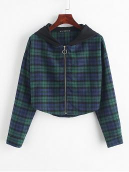Autumn Plaid Zipper Hooded Drop Full Short Wide-waisted Casual Jackets Daily Plaid Curved Hem Crop Hooded Jacket