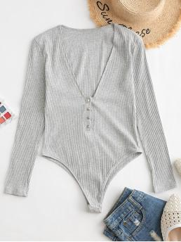Fall Others Long V-Collar Fashion Going Snap Button Heathered V Neck Bodysuit