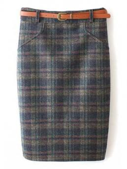 Yes Plaid Pencil Mini Plaid Pattern High Waist Skirt