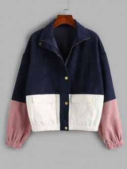 Pretty Full Sleeve Wide-waisted Cotton,polyester Others Pocket Colorblock Jacket