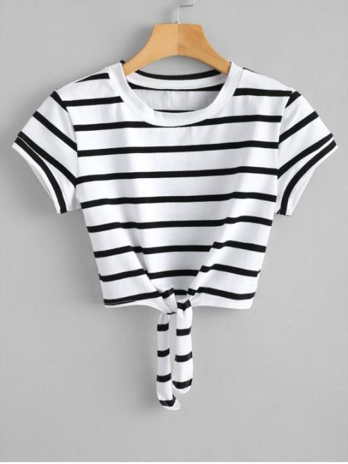 Summer Striped Tie Short Round Short Fashion Cropped Tied Stripes Top