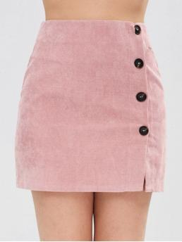 No Fall and Spring Button Button Solid Bodycon Mini Daily and Going Fashion Corduroy Buttoned Mini Skirt