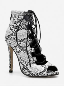 PU Rubber Lace-Up Animal Stiletto Peep Ankle Spring/Fall and Summer Fashion For Snake Print Peep Toe High Heel Leather Boots