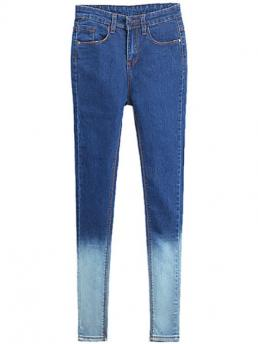 Pencil Button Mid Skinny Light Denim Normal Color Block Skinny Jeans