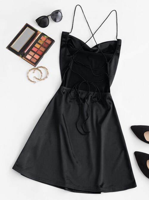 Affordable Black Solid Color Sleeveless Polyester,polyurethane Open Back Satin Party Dress