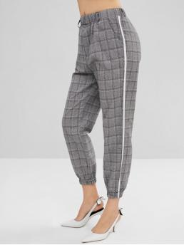 Fall and Spring and Summer Elastic Jogger Houndstooth Pockets Regular High Casual Elastic Waist Houndstooth Splicing Pants
