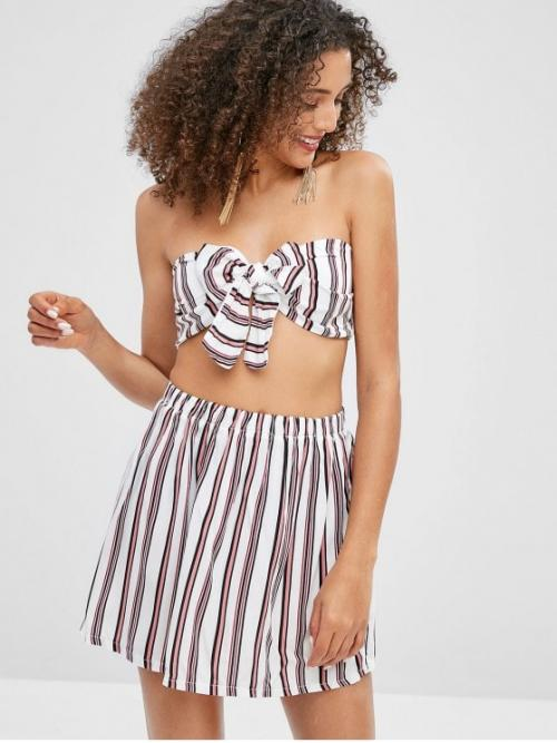 Summer Striped Pleated Elastic High Sleeveless Strapless Regular Casual Beach Striped Bandeau Top and Skirt Matching Set