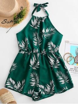 Summer No Leaf Sleeveless Halter Loose Casual Casual  and Going Leaves Print Halter Wide Leg Romper