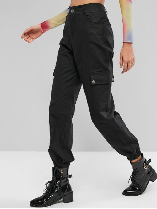 Fall and Spring No Nonelastic Zipper Jogger Normal Solid Pockets Flat Regular High Fashion Flap Pockets Solid High Waisted Jogger Pants
