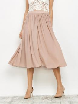 Fall and Spring and Summer Solid A-Line Mid-Calf Mesh Layers Midi Skirt