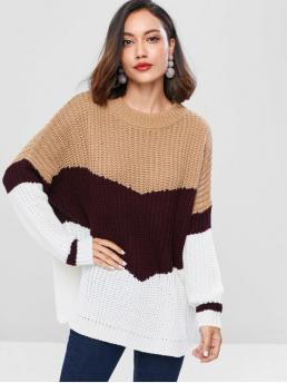 Autumn and Winter Micro-elastic Full Crew Long Regular Casual Daily Pullovers Ribbed Panel Color Block Sweater