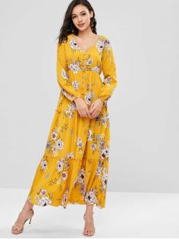 Fall and Spring No Floral Button Long V-Collar Ankle-Length Casual  and Going Floral Button Up Maxi Dress