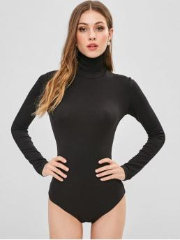 Fall and Spring Solid Long High Fashion Daily Long Sleeve High Collar Snap Crotch Bodysuit