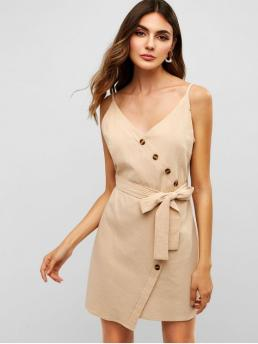 Yes Summer Nonelastic Solid Button Sleeveless Spaghetti Mini A-Line Casual  and Day Fashion Belted Buttoned Cami Dress