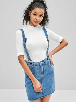 No Spring and Summer Zipper Pockets Solid A-Line Mini Denim Daily and Going Fashion Mini Pocket Denim Suspender Skirt