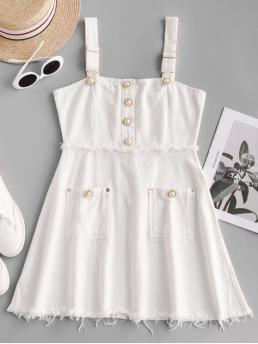 No Summer Nonelastic Solid Button and Pockets Sleeveless Straps Mini A-Line Day Fashion Pockets Pearly Buttons Mini Dress