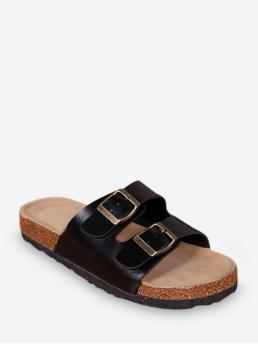 Summer PU 2CM Rubber Buckle Others Slip-On Flat Slides Beach and Daily Leisure For Buckled Clog Heel Slides