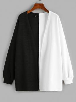Pretty Full Sleeve Cardigans Polyacrylic,polyester,polyurethane Colorblock Two Tone Open Front Cardigan