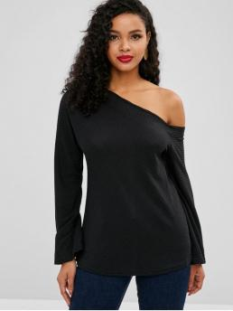 Autumn and Spring and Winter Solid Micro-elastic Full One-Shoulder Regular Regular Fashion Daily and Going Pullovers One Shoulder Ribbed Knitwear