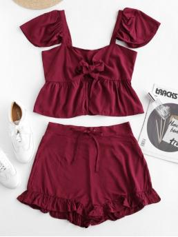 No Summer Ruffles Solid Flat Drawstring High Nonelastic Short V Regular Fashion Daily and Going Tie Front Top And Ruffles Shorts Set