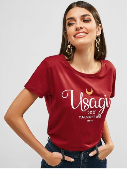 Summer Letter Short Round Casual Round Collar Letter Graphic Tee
