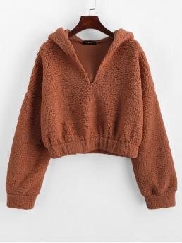 Autumn and Winter Solid Full Short Drop Hooded Hoodie Drop Shoulder Faux Shearing Teddy Hoodie