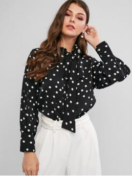 Autumn and Spring Tie Polka Full Regular Ruff Fashion Daily and Outdoor Polka Dot Ruff Collar Tied Button Up Blouse