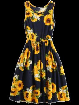 Summer No Floral Sleeveless Mid-Calf Round A-Line Brief Sleeveless Drawstring Waist Sunflower Dress