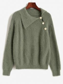 Full Sleeve Pullovers Cotton Solid Fuzzy Knited Sweater Pretty