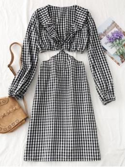 No Spring Plaid Long V-Collar Mid-Calf A-Line Day Fashion Long Sleeve Cut Out Plaid Midi Dress