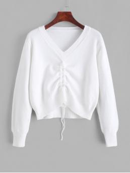 Autumn and Spring and Winter Solid Elastic Full V-Collar Short Regular Fashion Daily and Going Pullovers Pullover Cinched Front V Neck Sweater