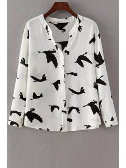 Animal Full Regular Stand-Up Formal Long Sleeve Red-Crowned Crane Print Shirt