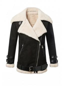 No Spliced Patchwork Lapel Full Wide-waisted Jackets Fashion Lapel Neck Long Sleeve Fur Collar Coat