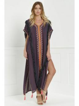 Spring and Summer and Fall No Floral Short V-Collar Mid-Calf Straight Casual Embroidered High Slit Cape Dress