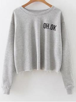 Fall and Spring Letter Fashion Full Short Raw Edge Slouchy Cropped Sweatshirt