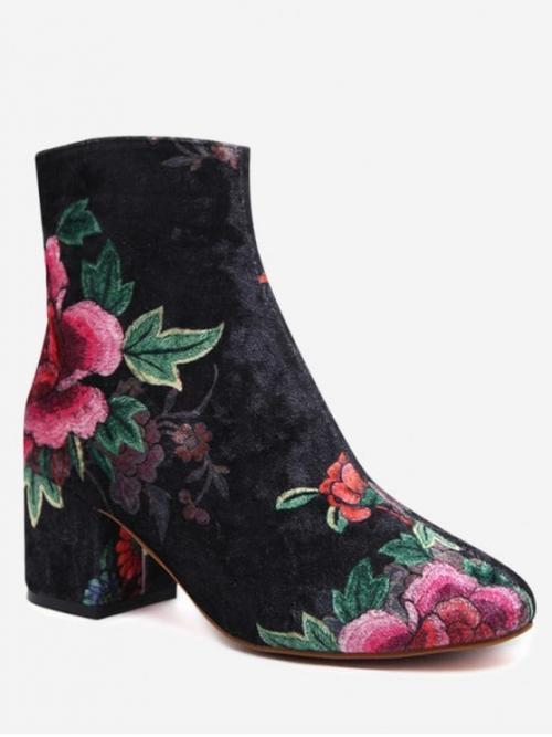 Black Velvet Zip Floral 6CM 12CM Chunky Round Ankle Spring/Fall Fashion For Velvet Block Heel Floral Pattern Short Boots